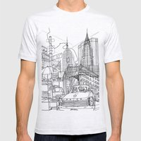 New York! B&W Mens Fitted Tee Ash Grey SMALL