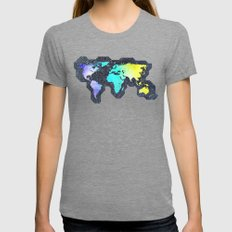The World Belongs To You Womens Fitted Tee Tri-Grey SMALL