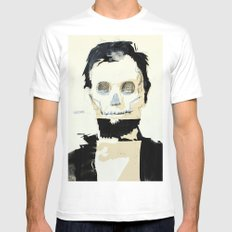 Abraham Lincoln (skull) White Mens Fitted Tee SMALL