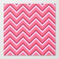 Pink Zig Zag Pattern Canvas Print