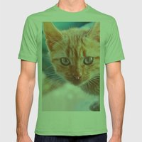 Cat Mens Fitted Tee Grass SMALL