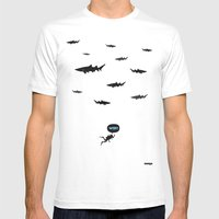 WTF? Tiburones! Mens Fitted Tee White SMALL