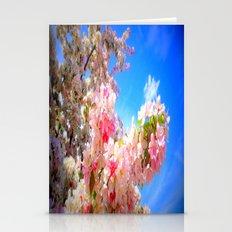 Pink Flowers Blue Sky Stationery Cards