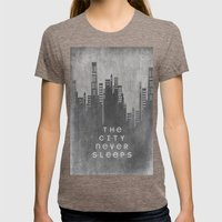 The City Never Sleeps Womens Fitted Tee Tri-Coffee SMALL