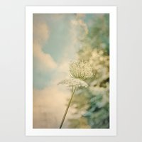 Cloudy with Sunshine and Queen Anne's Lace Wild Flowers in a Meadow Art Print