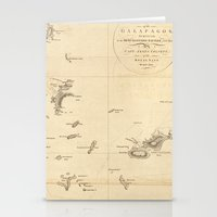Galapagos Islands Map Stationery Cards