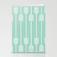 White Arrows on Mint Stationery Cards