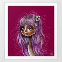 Little Skull Girl Illust… Art Print
