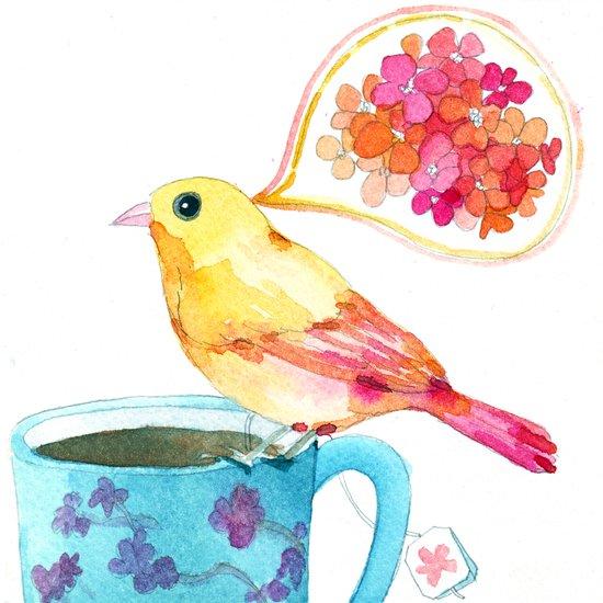 birdy and a blue teacup Art Print