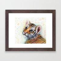Tiger Cub Watercolor Pai… Framed Art Print