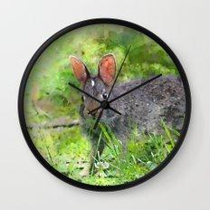 Baby Bunny Meadow Wall Clock