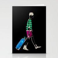Stylish Girl Walking Stationery Cards