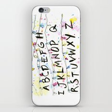 Stranger Things Alphabet Christmas Lights Wall iPhone & iPod Skin