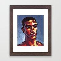 Male Portrait - Loves Football Framed Art Print