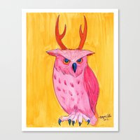 Antlered Owl Canvas Print