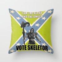 Vote Skeletor Throw Pillow