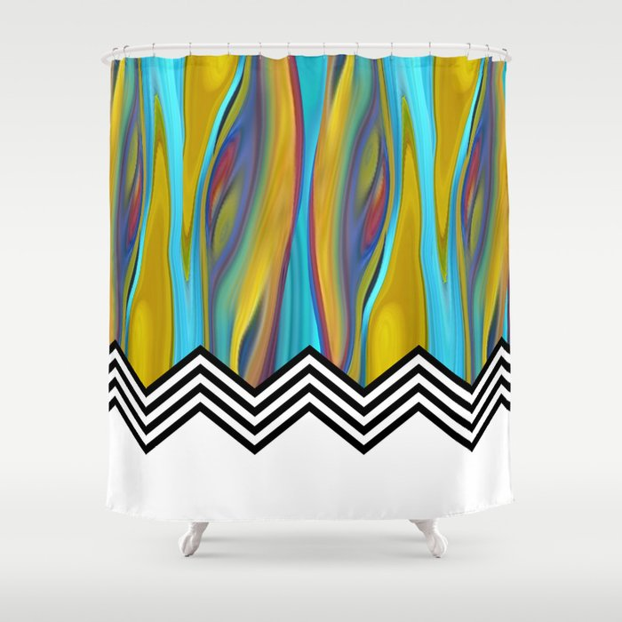 Chevron Flame Blue Yellow Shower Curtain By Cheryl Daniels Society6