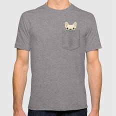 Pocket French Bulldog - Cream Mens Fitted Tee Tri-Grey SMALL