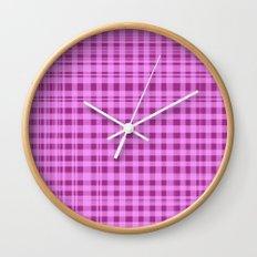 Purple Checkers. Wall Clock