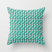 turquoise petal lines  Throw Pillow