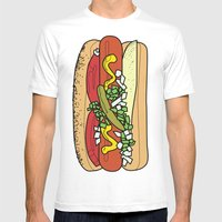 HOT DOG Mens Fitted Tee White SMALL