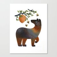 Bear With Bee Canvas Print