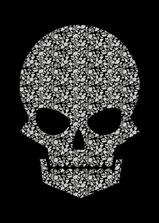 Skull + flowers (white) Art Print