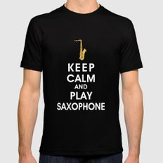 Keep Calm and Play Saxophone Black Mens Fitted Tee SMALL