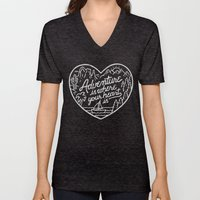Adventure is where your heart is BW Unisex V-Neck