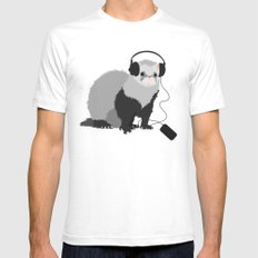 Music Loving Ferret Mens Fitted Tee White SMALL