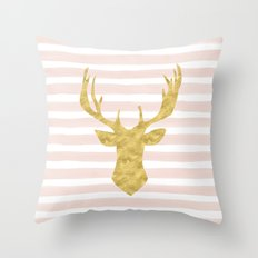 Pink Watercolor Stripes and Gold Deer Throw Pillow