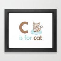 c is for cat, children alphabet for kids room and nursery Framed Art Print