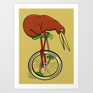 Kiwi Riding A Unicycle Art Print