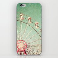 Ferris Wheel on Blue Textured Sky  iPhone & iPod Skin