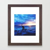 Sunset Swimmer Framed Art Print