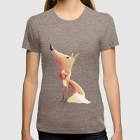 Freddie The Fox Womens Fitted Tee Tri-Coffee SMALL