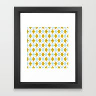 Sky Blue And Gold Argyle Framed Art Print