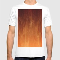 Orange Fire Watercolor Abstract Mens Fitted Tee White SMALL