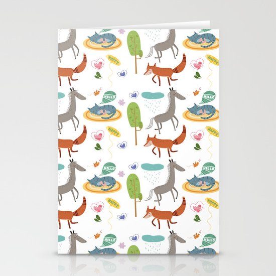 Happy animals Stationery Card