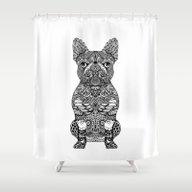 Mandala Frenchie Shower Curtain