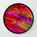 Sweet or Sultry - Sexy Crimson Red Valentine's Day Stripes Typography Abstract Watercolor Painting Wall Clock