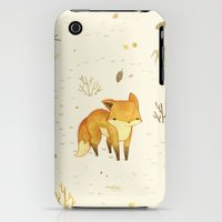 iPhone 3Gs & iPhone 3G Cases featuring Lonely Winter Fox by Teagan White