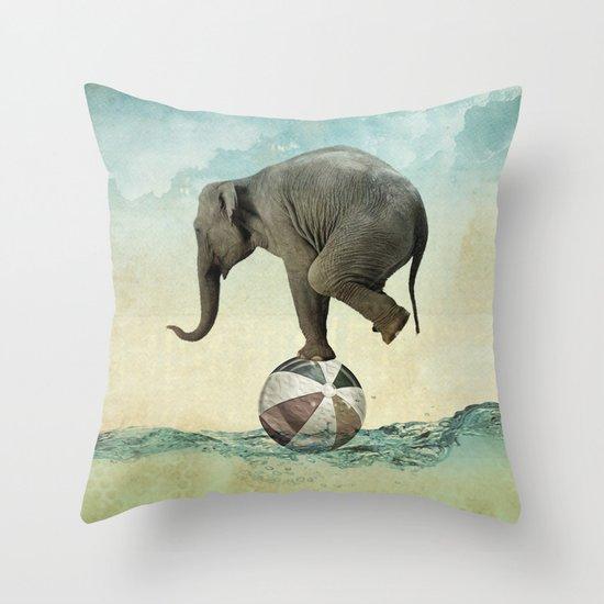 Elephant at Sea Throw Pillow