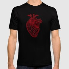 abstract red heart Mens Fitted Tee Black SMALL