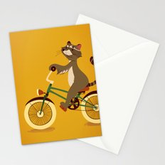 Raccoon on a bicycle Stationery Cards