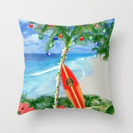 Beach Christmas Throw Pillow