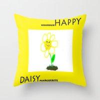 Happy Daisy Throw Pillow