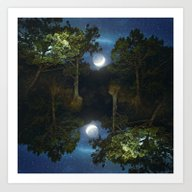 Art Print featuring Moonset In Coniferous Fo… by Va103