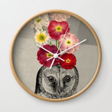 flower owl Wall Clock