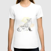 Girl And Fox Womens Fitted Tee White SMALL